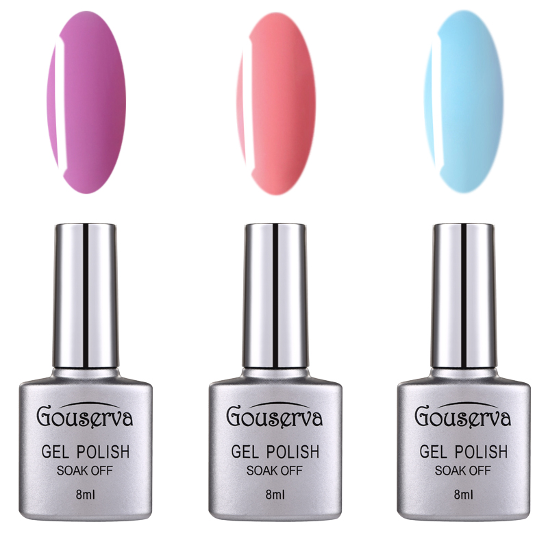 Healthy and Eco-friendly 79 Colors Gel Of Nail 3pcs Need UV LED Lamp manicure Colorful Gel Lucky Gouserva(China (Mainland))