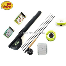 Goture 2015 3/4 Fly Fishing Rod Tackle Set 2.4M carbon fly fishing rod reel with line lure Files and line connector