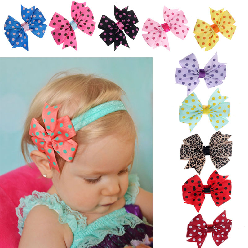 Scolour 10PC Babys Headband Elastic Wave Point Bowknot Photography bebe menina flower Headbands headband girls headwear toddler(China (Mainland))