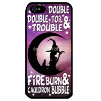 Cover for Iphone 5 Witch cat moon Halloween phrase Supernatural Art Phone case