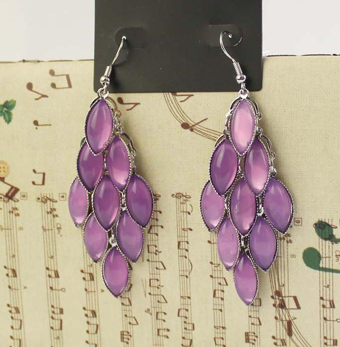 Promotion wholesale design resin red purple chandelier drop earrings fashion jewelry(China (Mainland))