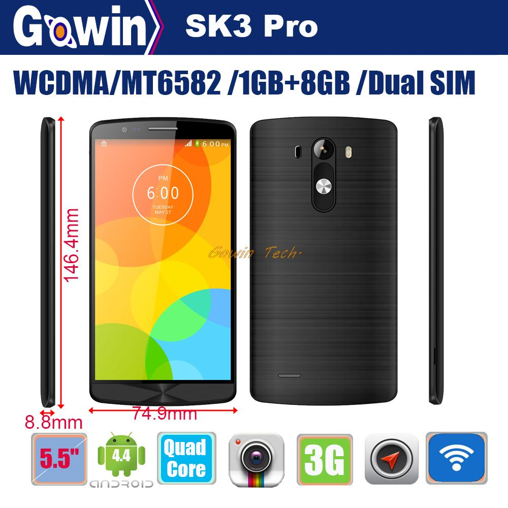 """Brand New SK3 Pro MT6582 Quad Core 1.3GHz WCDMA 3G Phone 1GB RAM 8GB ROM android 4.4 5.5"""" IPS Screen Beauty face OTG cellphone(China (Mainland))"""