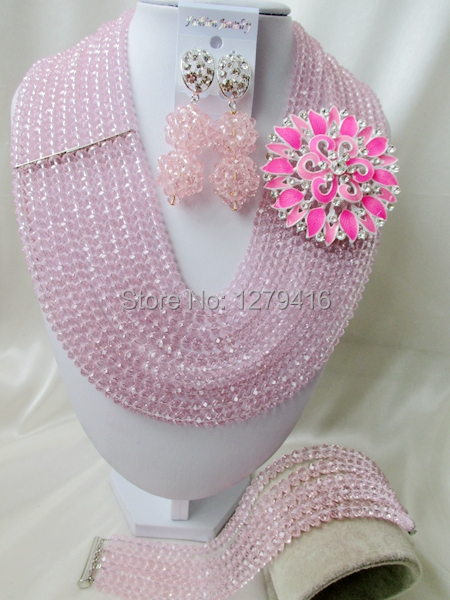 Of the most popular fashion jewelry beads Africa Nigeria wedding jewelry, crystal necklace bracelet with 10 layers of pink A82<br><br>Aliexpress