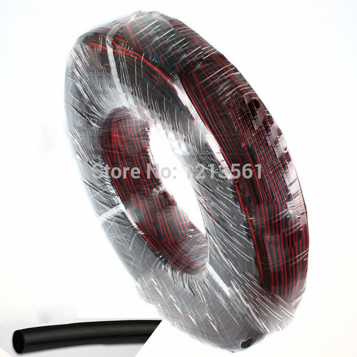 Free shipping+30M/lot, Tinned copper 18AWG,red black 2pin cable, red black 2pin 18 AWG wire +give 3M 5mm black shrink tube.(China (Mainland))