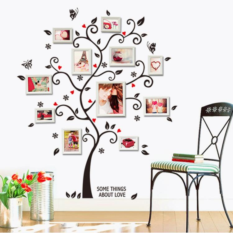 Tree photo frame Diy 3D vinyl wall stickers home decor Design living room sofa vintage poster wall art decals home decoration(China (Mainland))