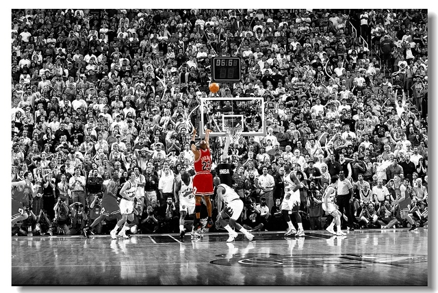 (Free Shipping) Michael Jordan MJ 23 The Last Shot Utah Silk Wall Poster 48x32,36x24,20x12 inch Print Room Boy Decorate(3)