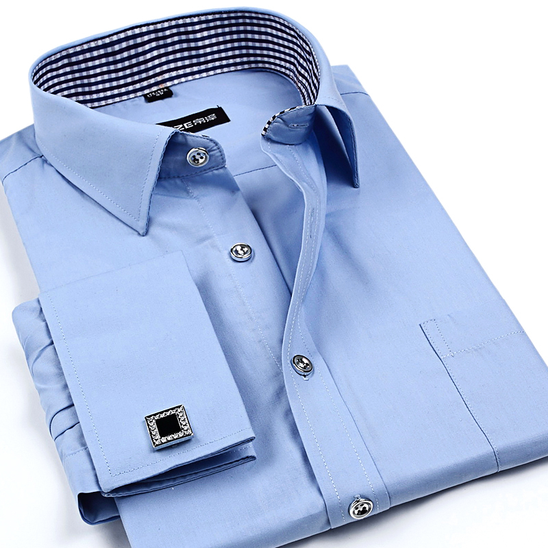 2015 New French Cuff Button Men Dress Shirts classic Slim Fit Long Sleeve Brand Formal Business Fashion Shirts 20 Colors(China (Mainland))
