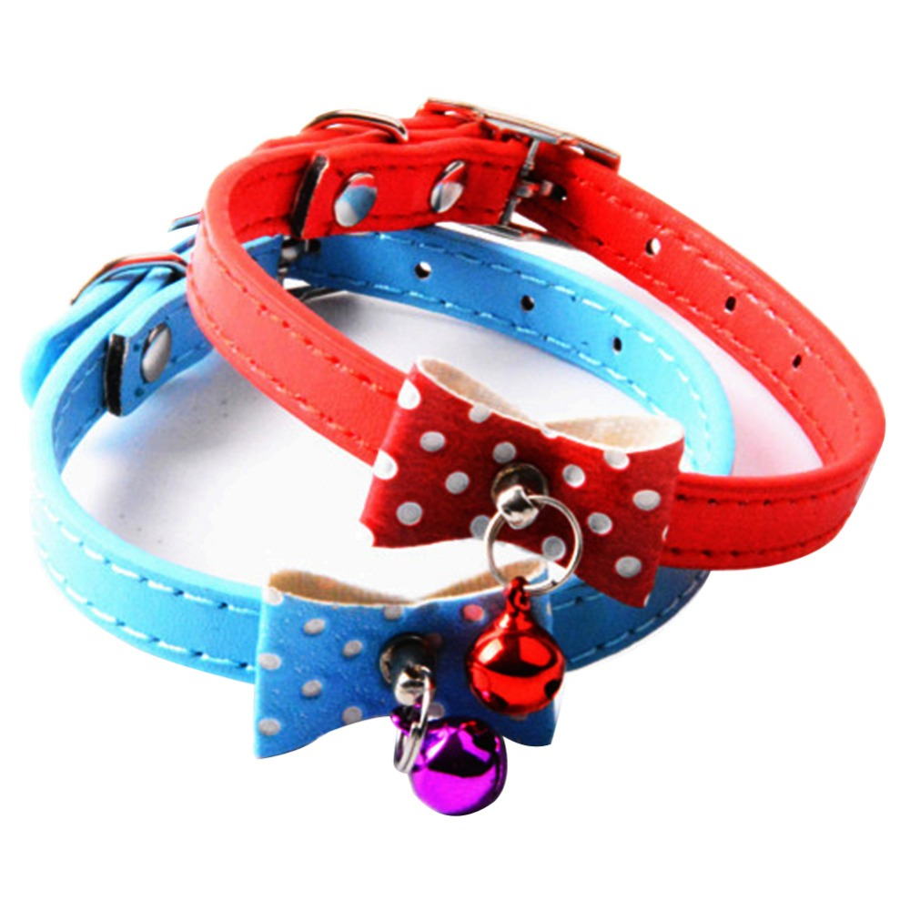 New Style Adjustable Pet Cute PU Leather Dog Collar Rhinestone with bell Puppy Kitten Necktie Collars for Dogs and Cat 5 Colors(China (Mainland))