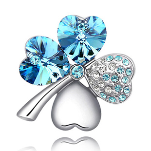 Hot Selling Four Leaves Clover Crystal Brooch Pins 15pcs/lot Free Shipping (10 Colours)<br><br>Aliexpress