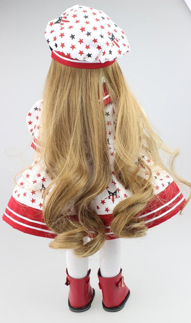 New 12 months Merry Christmas reward 18″ American lady doll with costume cap silicone lifelike child doll child toys lady birthday reward