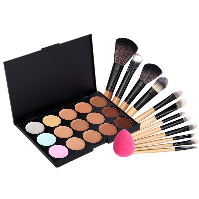 Professional Concealer Palette 15 Color Camouflage Concealer Facial Face Cream + 12pcs Makeup Brushes+ Sponge Puff Maquiagem