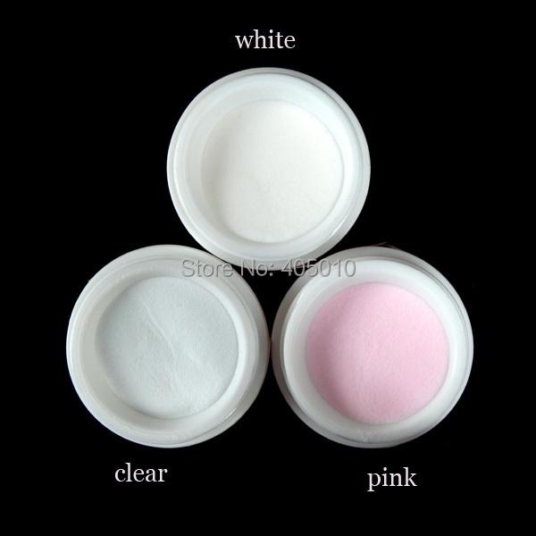 3 cores branco polímero acrílico pó prego J38