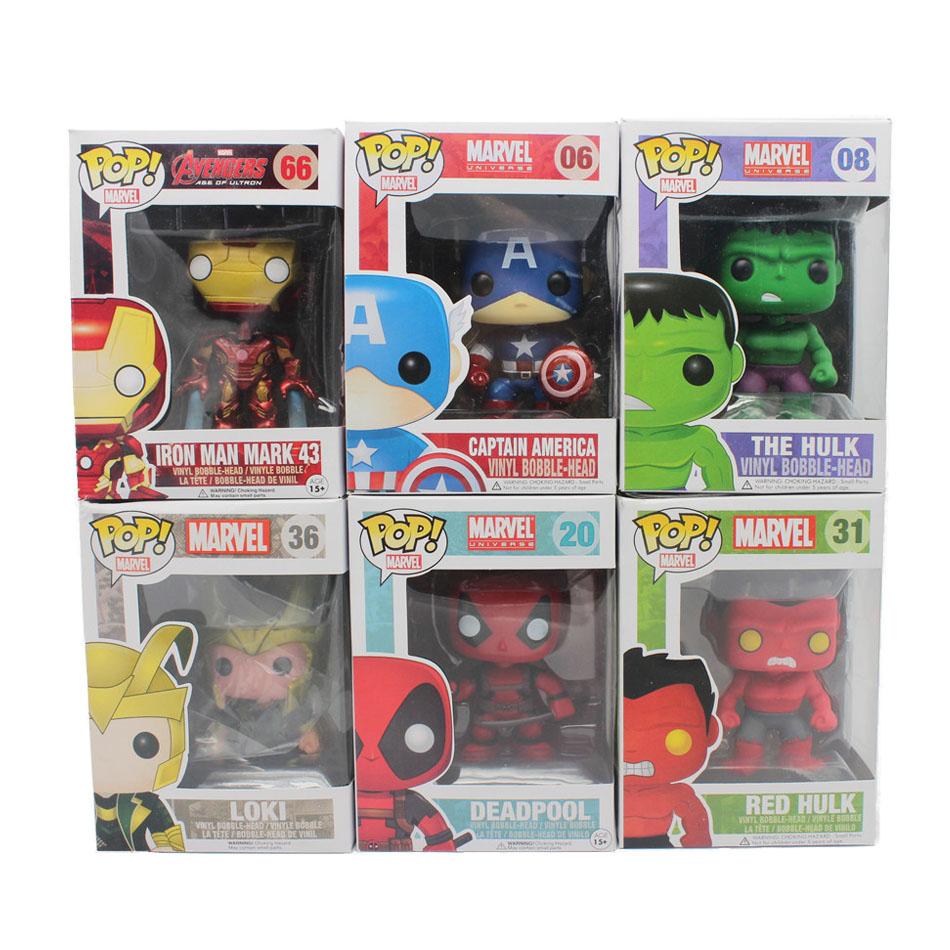 Funko Pop Bobble Head Figure Marvel the Avengers Deadpool Red Hulk LOKI Captian America Iron Man Mark 43 PVC Vinyl Figure Toy(China (Mainland))