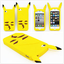 2015 New Style Anime Cartoon 3D Pocket Monsters Pokemon Pikachu Cute Silicone Back Cover Case For iPhone 4 4s 5 5s 6 6 plus(China (Mainland))