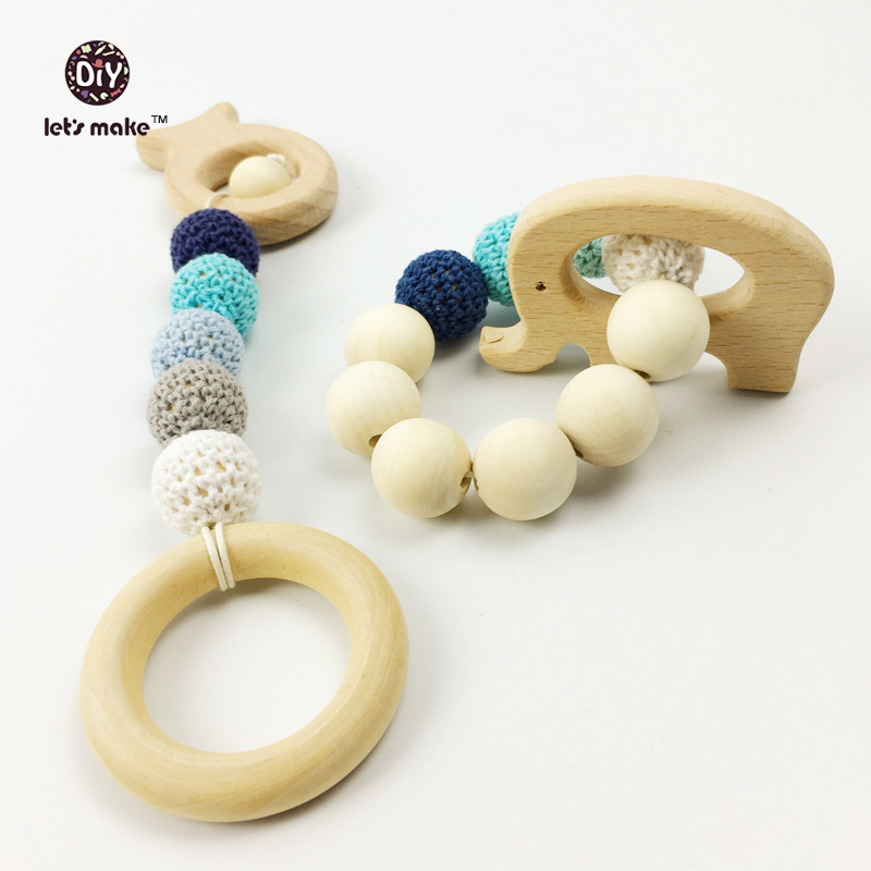 Organic Wood Nursing Necklace Toy Elepant Fish Set Wood Bead Teething Bracelet Baby Mom Kids Wooden Teether Heart 2pcs/lot(China (Mainland))