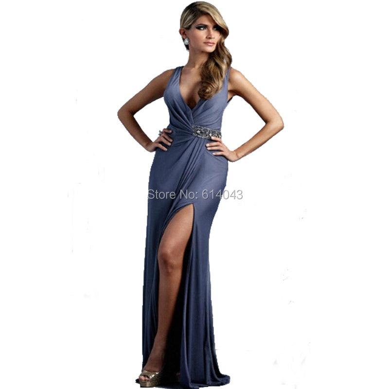 Sexy V Neck Chiffon Long Length Wedding Guest Dress