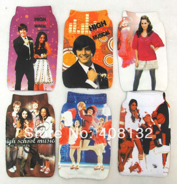 Free Shipping 10 pcs girls High School Musical mobile phone socks pouch Lovely gift(China (Mainland))