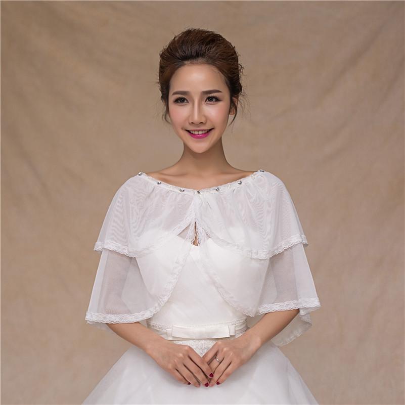 Wholesale women layers beaded jackets wedding bridal wraps for Wedding dress shrug