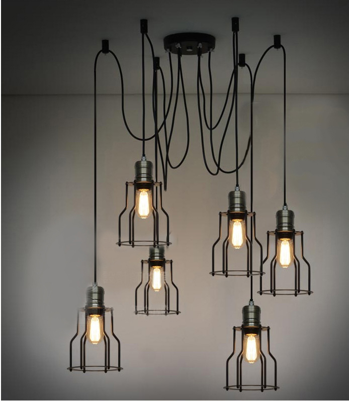 Loft vintage six lights hoaxed small pendant light lamps(China (Mainland))