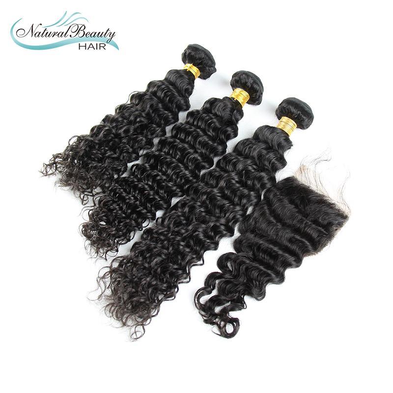 Brazilian Virgin Hair 3 Bundles with closure 100% Human Hair Brazilian deep wave 6A Unprocessed Brazilian Virgin Hair<br><br>Aliexpress