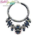 Luxury Vintage Rainbow Flower Big Shourouk Chunky Statement Collar Choker Necklace Fashion BluePendant Jewelry For
