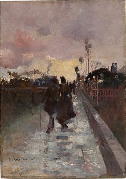 Canvas Art Prints Fabric Wall Decor Giclee Oil Painting Charles Conder - Going Home (the Gray And Gold)(China (Mainland))
