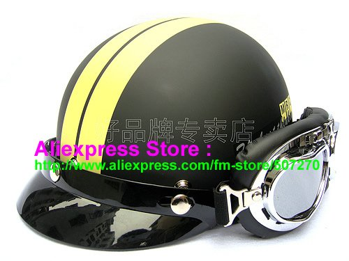 P.30 New ABS Half Bol Vespa Cycling Half Face Motorcycle Matt Black # Yellow Helmet Visor & Silver Goggles SIZE M , L , XL(China (Mainland))