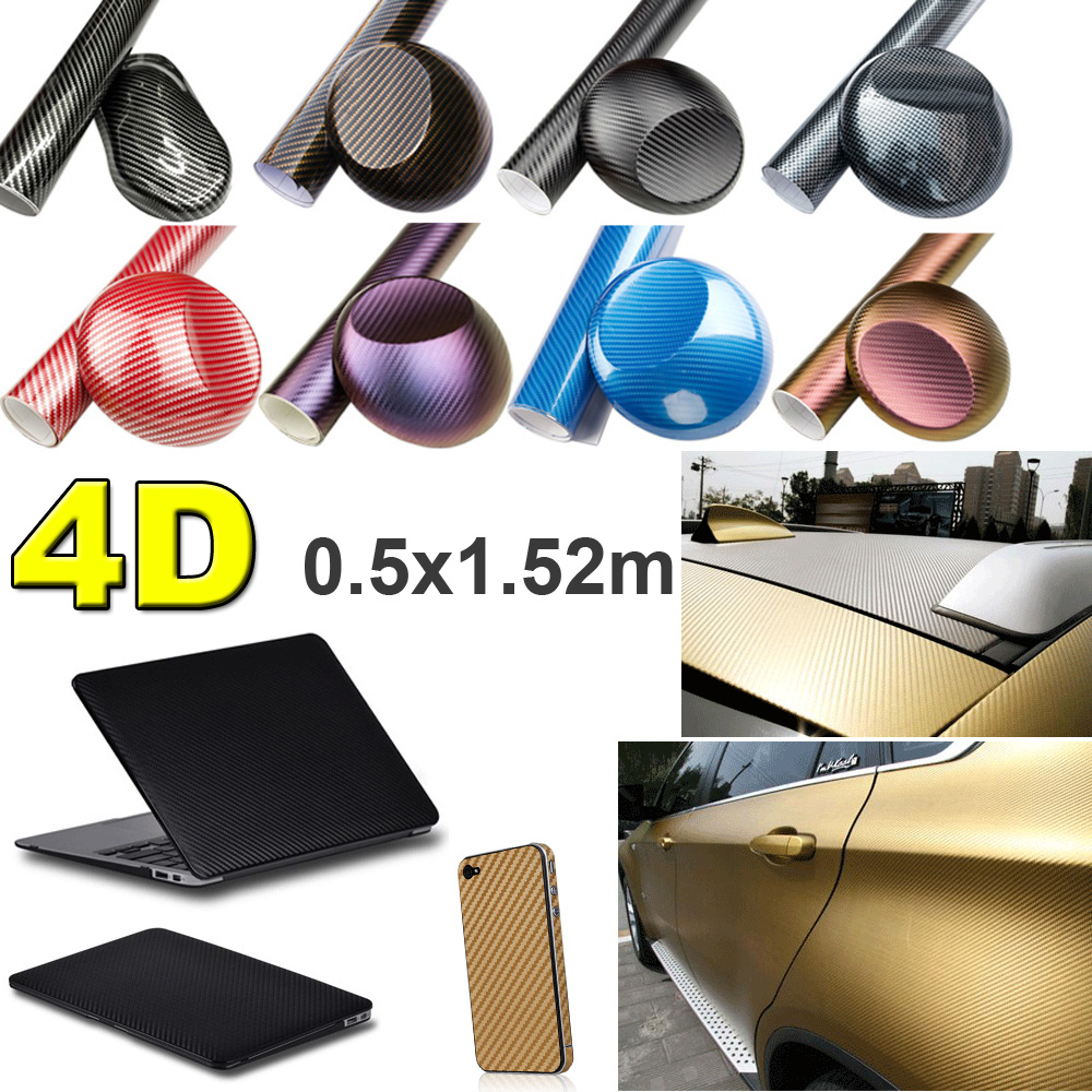 Fochutech 50x152cm DIY 4D Carbon Fibre Chameleon Vinyl Decals Sticker For Auto Car PC iPhone iPad Xbox Ps4 Gamepad Decorative(China (Mainland))