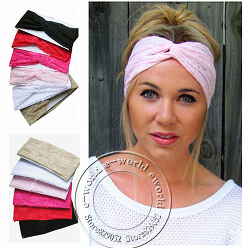 New Women Lace Stretchy Headband Turban Bandanas Head wrap Twist Hairbands Turbante Hair Accessories Free Shipping A0392(China (Mainland))