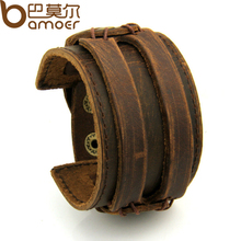 BAMOER Leather Cuff Double Wide Bracelet and Rope Bangles Brown for Men Fashion Man Bracelet Unisex Jewelry PI0296(China (Mainland))