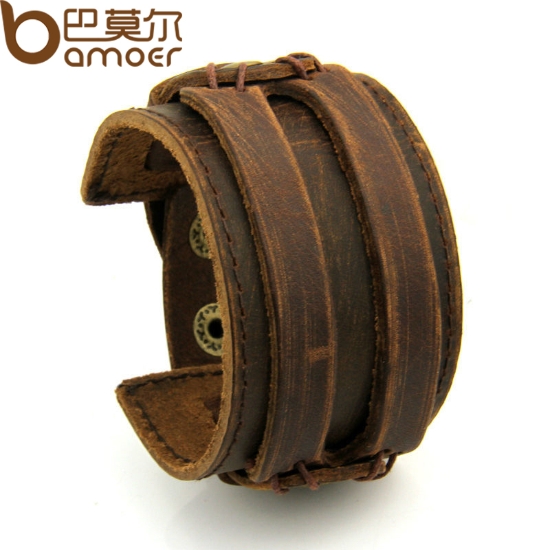 Free Fast Shipping Leather Cuff Double Wide Bracelet and Rope Bangles Brown for Men Fashion Man Braclets Unisex Jewelry PI0296(China (Mainland))