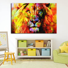 Canvas Painting Hd Printed Lion Home Decoration Abstract Animal Pictures Posters Modern Wall Art For Living Room Artwork Framed(China)