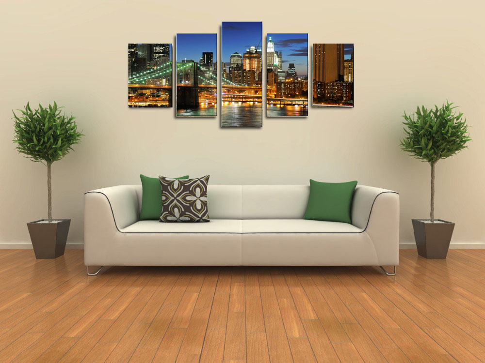 Modern City Canvas Wall Art Painting For Living Room Large Canvas Prints Decorative Pictures