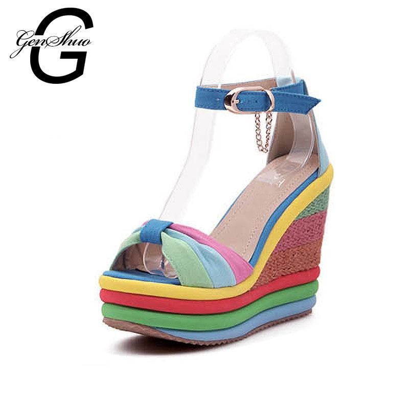 New Summer Sexy Bohemia Casual Rainbow Peep Toe Platform Sandals For Womens Ladies Wedges Sandalias Plataforma Shoes High Heels(China (Mainland))