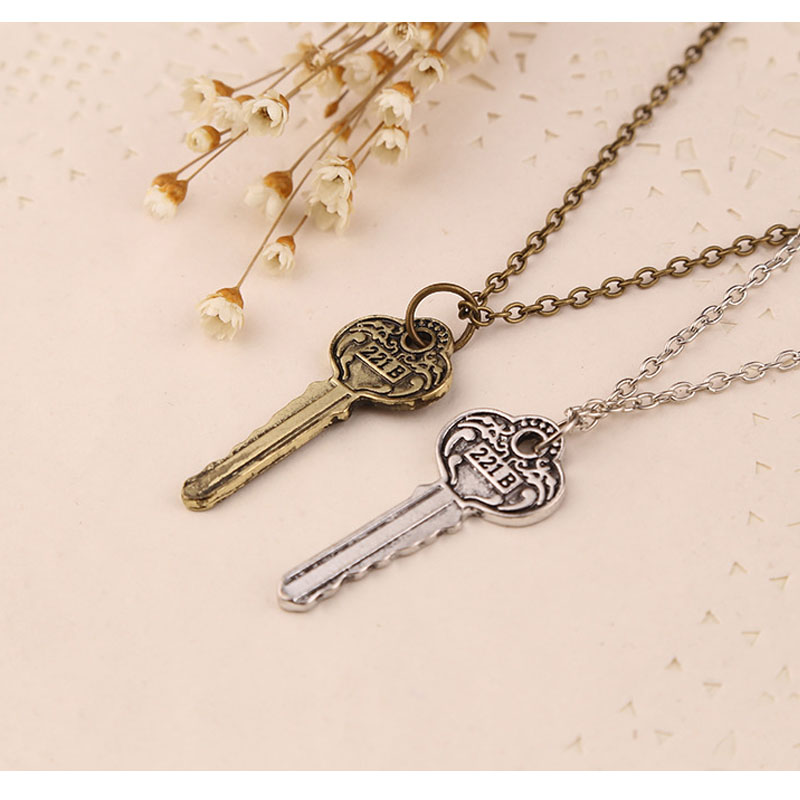 2016 Free Shipping The new Sherlock 221b apartment keys necklace necklace custom vintage key necklaces(China (Mainland))