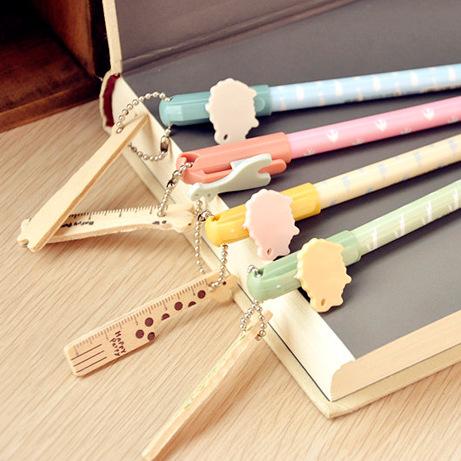 1 Pics 0.5mm Japanese Kawaii Cute Gel Pen Korea School Supplies Stationery With Ruler(China (Mainland))