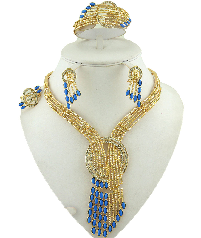 fine women necklace fine jewelry sets best quality african big jewelry sets wedding costume jewelery african 18k gold jewelry(China (Mainland))