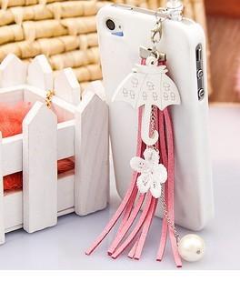Free Shipping - wholesale dust plug min order 15usd 3.5mm A76 Korean wooden umbrella Korea nylon tassel mobile phone(China (Mainland))