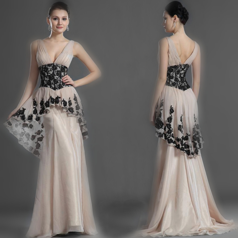 Elegnat Vestidos Real Photo V-Neck Chiffon Long Dress Floor-Length A-Line Evening Dresses Lace Formal 2017 Prom Custom - wedding dresss Store store