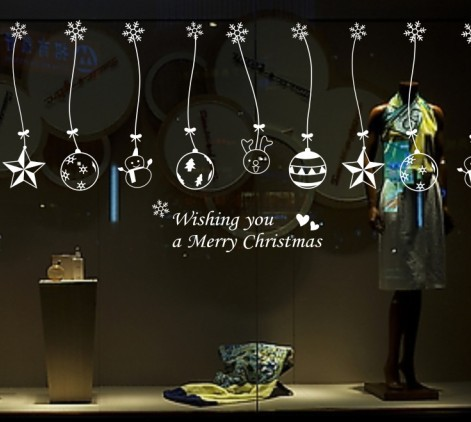 Christmas Christmas balls bells hanging chain Home Decoration Stores Showcase decorations Glass Sticker 100 cm * 70 cm(China (Mainland))