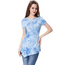 T Shirt Women 2016 Summer Tie Dyed Print Tops Short Sleeve Fashion T-shirts Women's Plus Size Tshirt Cotton Tee Shirt Femme(China (Mainland))