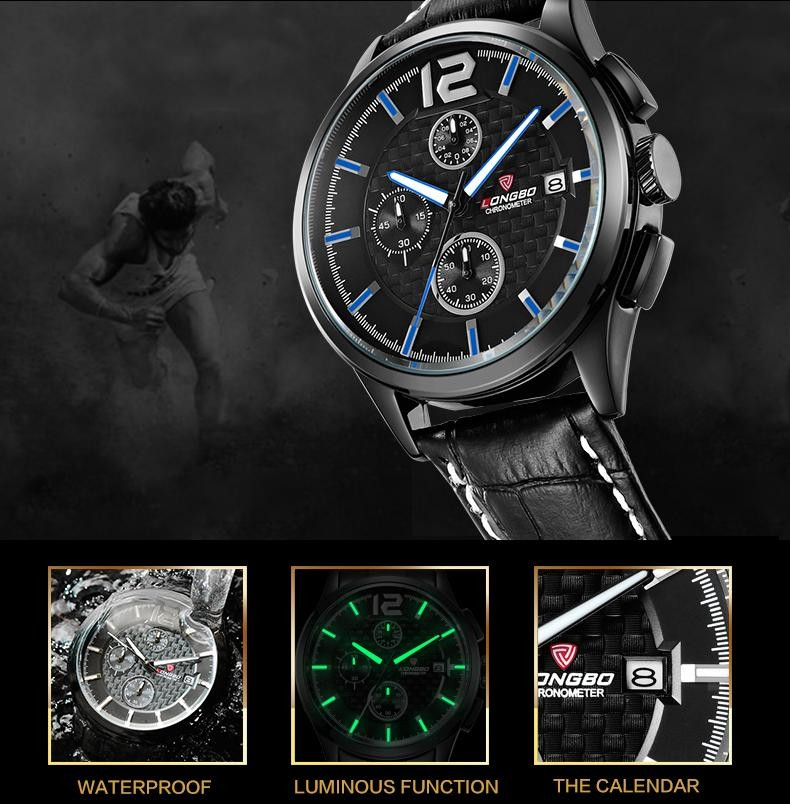 LONGBO Luxury Brand Мужчины Водонепроницаемый Армии Кварцевые Часы 2016 Новые Случайные Cakendar Geniune Кожа Наручные Часы Relogio мужской 80178