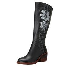 2019 VALLU Frauen Kniehohe Stiefel High Heels Echtem Leder Blume Handgemachte Vintage Block Heels Seite Zipper Frauen Stiefel(China)