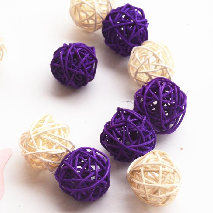 Hot Sale! 3cm White And Purple Christmas tree decorative rattan ball,Wedding and home ornament craft ball Free shipping(China (Mainland))