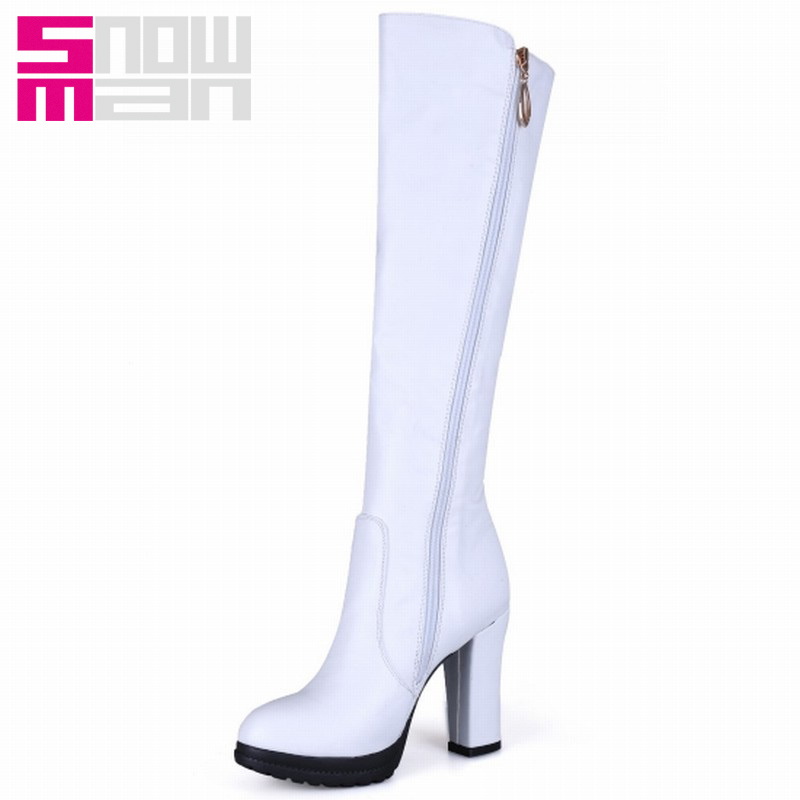 2015 Brand Buckle Strap Knee High Boots Women Fashion Fall Winter Boots Thick High Heels Platform Knight Boots Plus Size 33-43