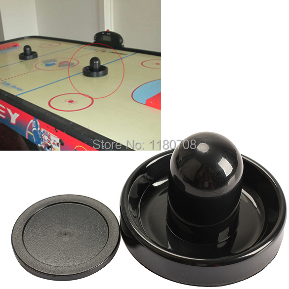 Classic game Air Hockey Table 96mm Felt Pusher Mallet Goalies with 1pc 63mm Puck Black(China (Mainland))