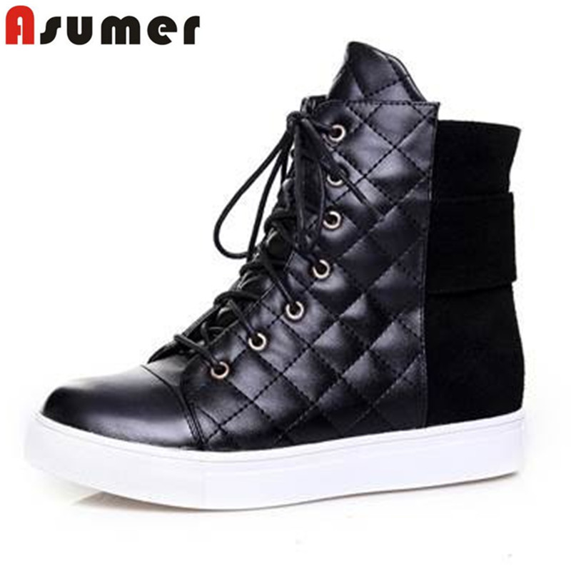 AISIMI New Fashion genuine leather platform flat Boots heels ankle boots grid lace up winter autumn boots for woman shoes<br><br>Aliexpress