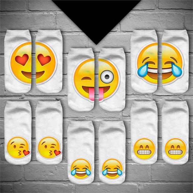 Повседневная 3D Emoji Печати Слова Тапочки Носки Смешные Носки Для Женщин Мужчин ...