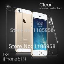 Free shipping 4H anti-scratch HD front and back screen protector iphone 5 5s with retail package