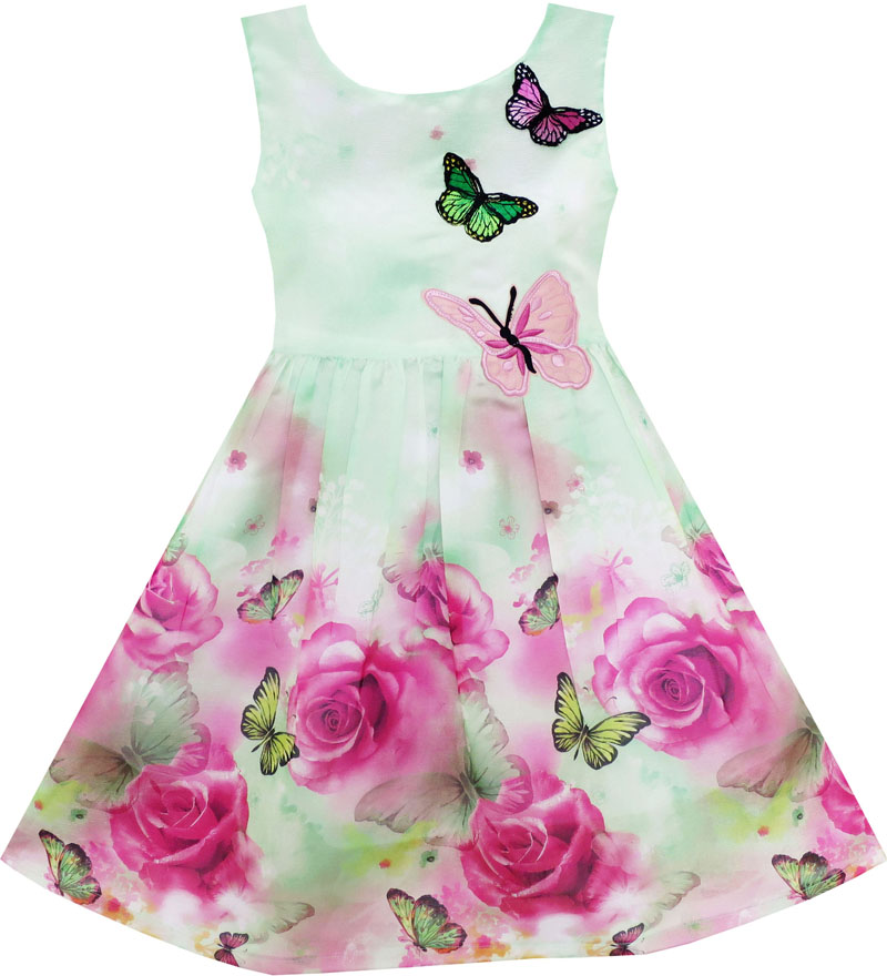 Sunny Fashion Girls Dress Rose Flower Butterfly Embroidery Green 2016 Summer Princess Wedding Party Dresses Clothes Size 4-12(China (Mainland))